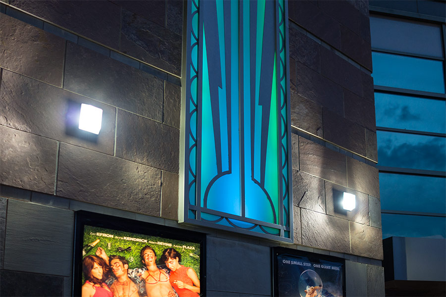 LED canopy lights outside theater